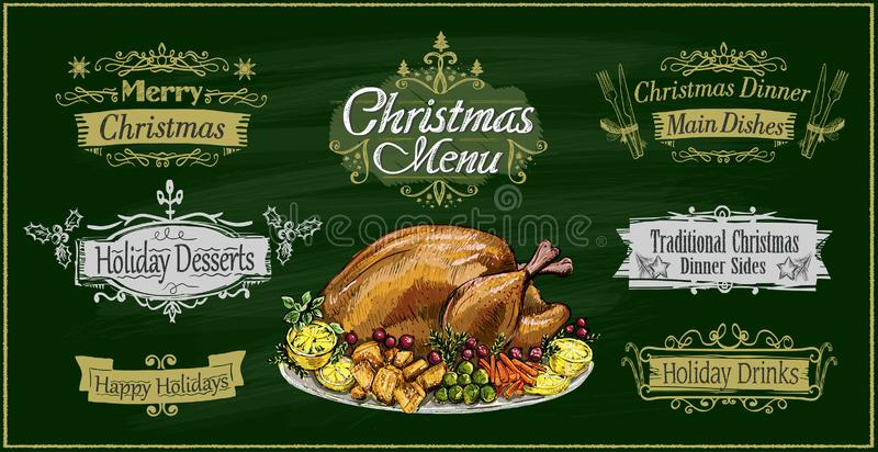 Chalk christmas menu on a green board with traditional roasted turkey and holiday lettering signs set stock illustration