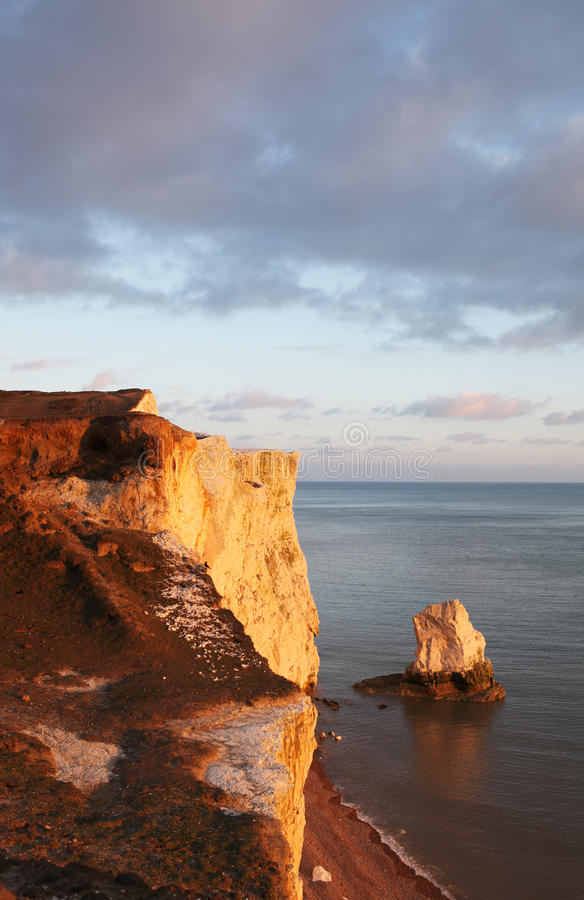 Chalk Cliff Hill Seaside Seven Sisters England Stock Photos