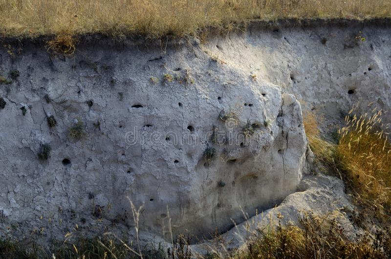 chalk cliff near Kharkov mountains and fields royalty free stock image