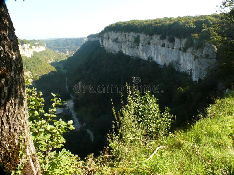 Chalk cliffs of the circus of Baume les Messieurs. stock photo