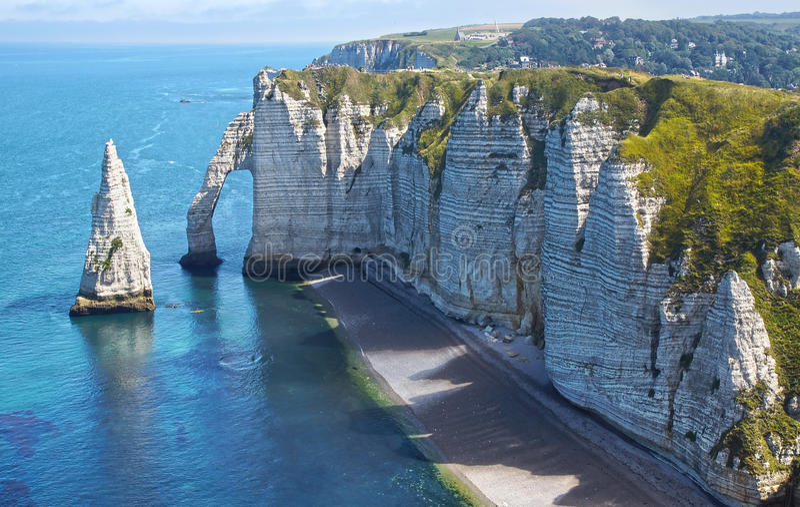 Chalk cliffs at Cote d'Albatre. Etretat royalty free stock images