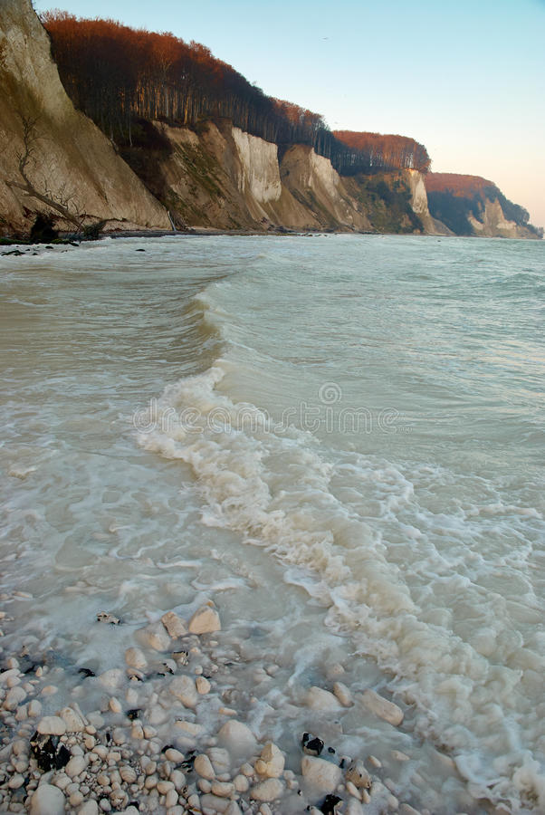 The chalk cliffs and the sea, Rügen royalty free stock photos
