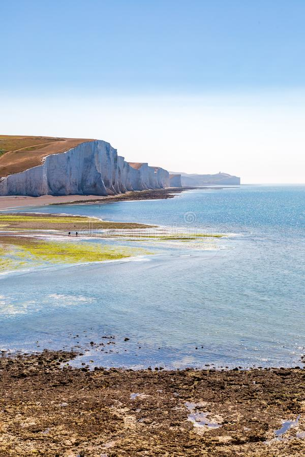 Chalk Cliffs on the Sussex Coast. Looking out at the Seven Sisters Cliffs on a sunny summers morning stock photography
