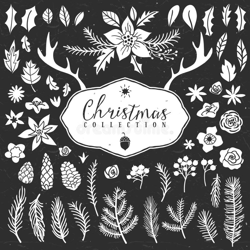Chalk decorative plant items. Christmas collection. stock illustration