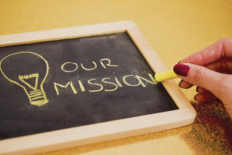 Chalk Design With Lightbulb, Business Mission Royalty Free Stock Photo