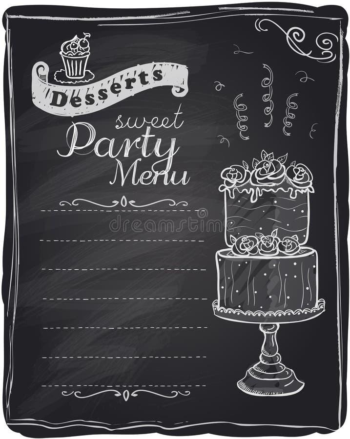 Chalk desserts party menu. stock illustration