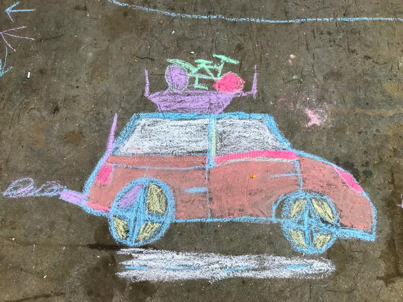 Chalk drawing. Of an automobile going on vacation stock image