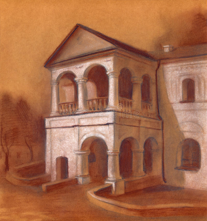 Chalk drawing. Facade of an ancient building vector illustration