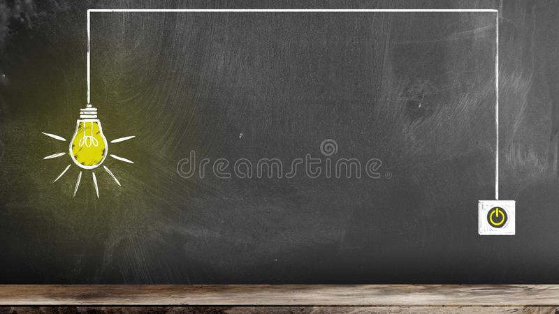 Chalk drawing of glowing light bulb and switch on chalkboard stock images
