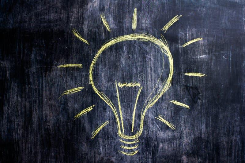 Chalk drawing of light bulb on blackboard. Bright idea royalty free stock photos