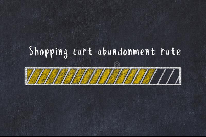Chalk drawing of loading progress bar with inscription shopping cart abandonment rate.  royalty free illustration