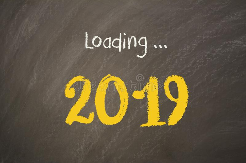 Old Year New Year 2019 on Blackboard royalty free stock photo