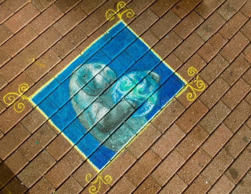 Chalk  Drawing On Sidewalk Royalty Free Stock Photos