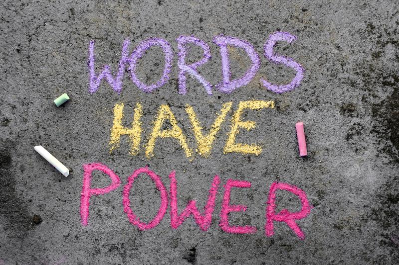 Chalk drawing: text WORDS HAVE POWER stock photography