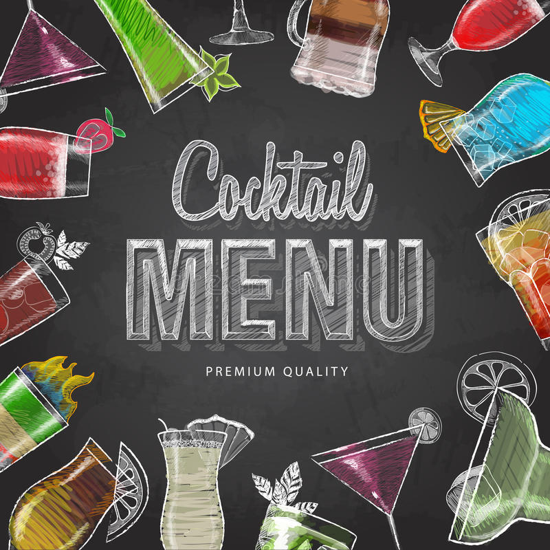 Chalk drawing typography cocktail menu design stock illustration