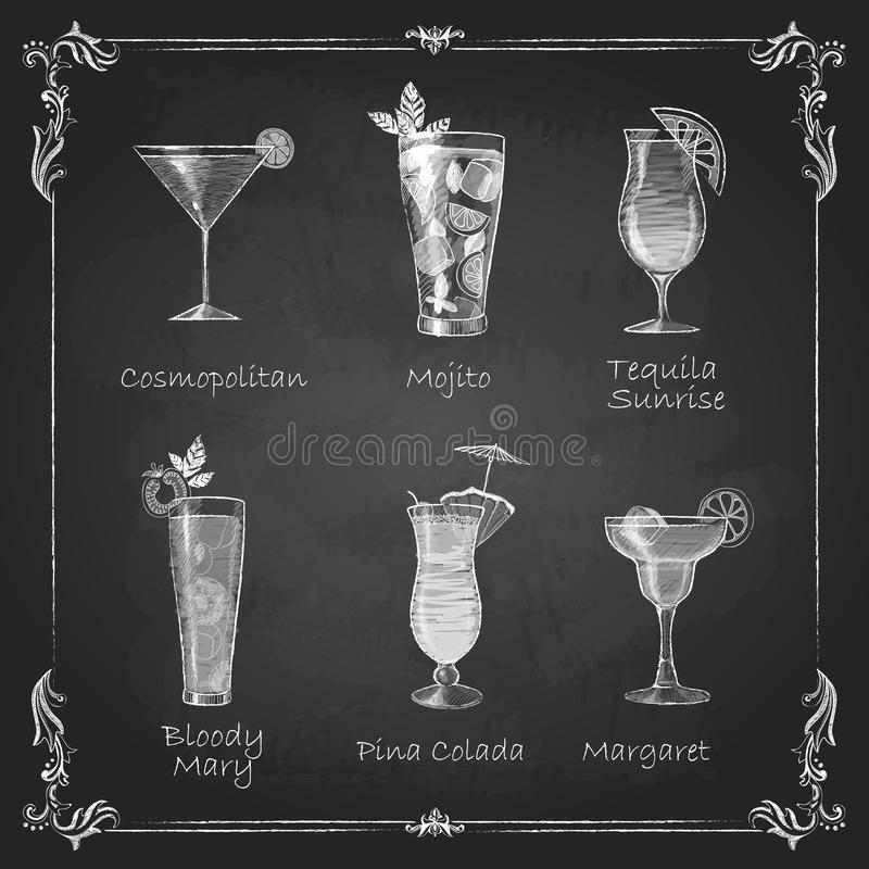 Free Chalk Drawings. Cocktail Menu Royalty Free Stock Photography - 41322567