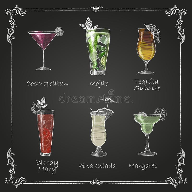 Chalk drawings. cocktail menu royalty free illustration