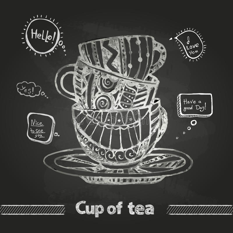 Chalk drawings. Decorative cup of coffee royalty free illustration