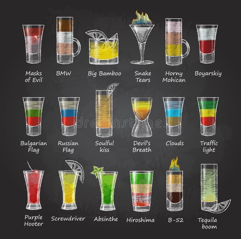 Chalk drawings. Set of shot cocktails. menu. Design vector illustration