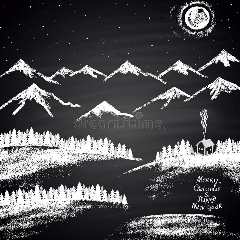 Chalk drawn Christmas illustration with mountains, snowdrifts, moon, house and ''Merry Christmas & Happy New Year'' text. royalty free illustration