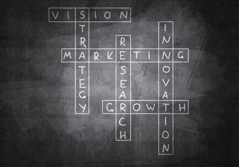 Chalk drawn crossword. Business concept with crossword drawn on blackboard stock images