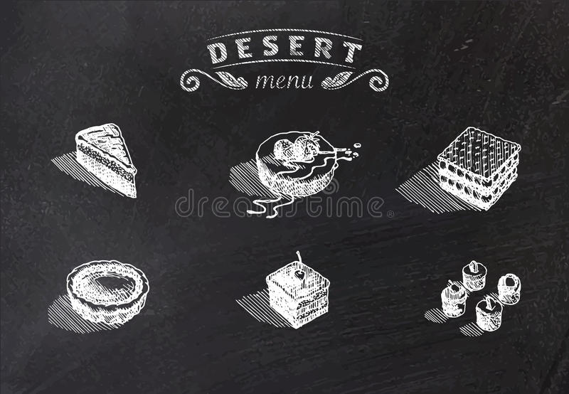 Chalk drawn deserts on school board. Vector illustration. Sweet deserts to your cafe and restaurant themes stock illustration