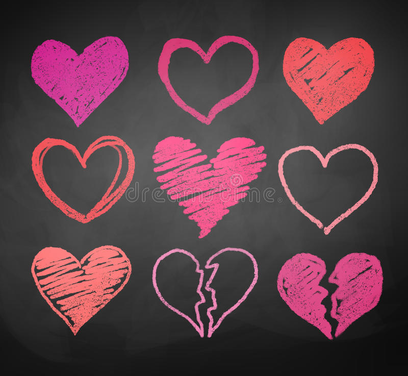 Chalk drawn hearts vector illustration