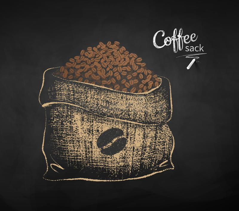 Chalk drawn sketch of open sack with coffee beans stock illustration