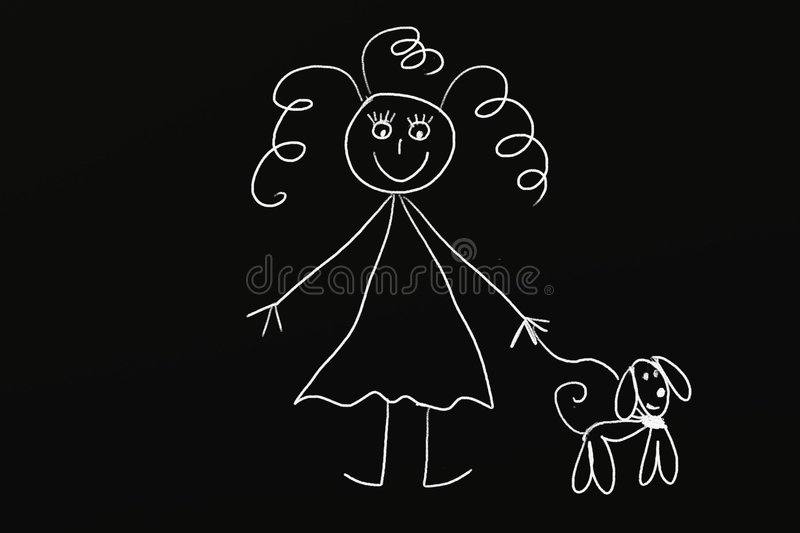 Chalk Girl with dog vector illustration
