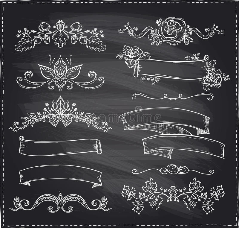 download chalk graphic line elements love and wedding theme vintage style ribbons stock vector