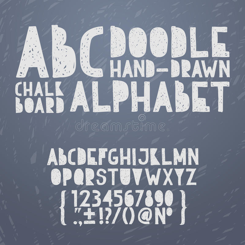 Chalk hand draw doodle abc, alphabet grunge. Scratch type font vector illustration royalty free illustration