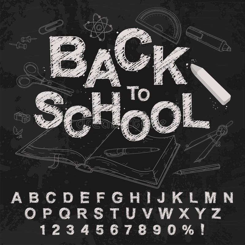 Chalk hand drawing alphabet, vector illustration. Chalked back to school. royalty free stock photography