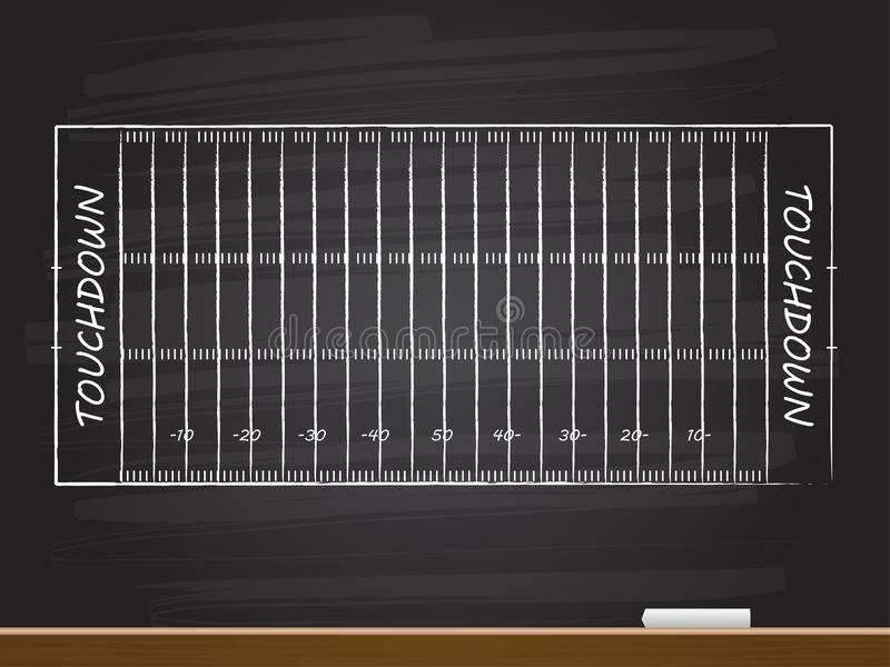 Chalk hand drawing with american football field. Vector illustration vector illustration
