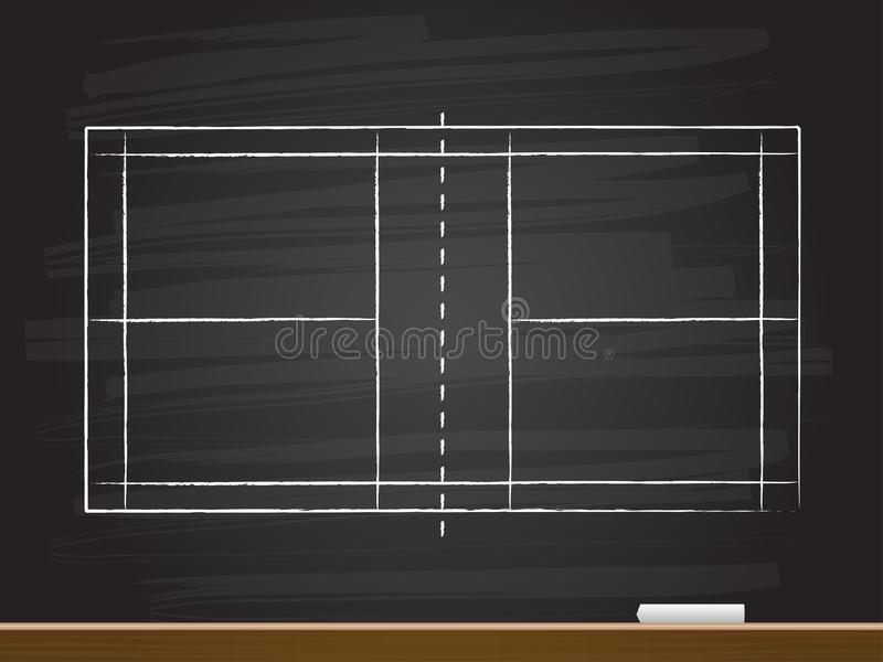 Chalk hand drawing with badminton court. Vector illustration stock illustration
