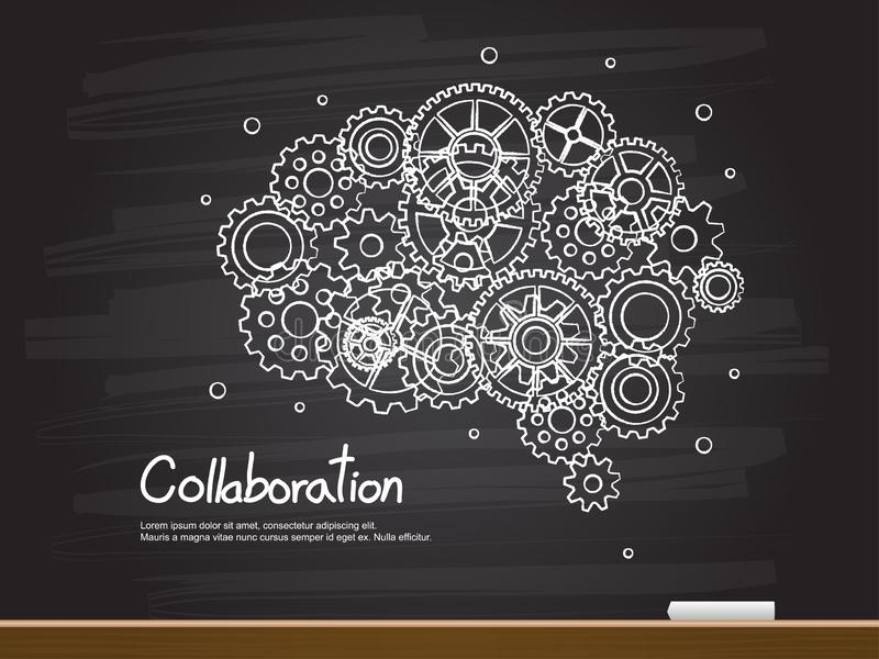 Chalk hand drawing with brain gear and collaboration word. Vector illustration vector illustration