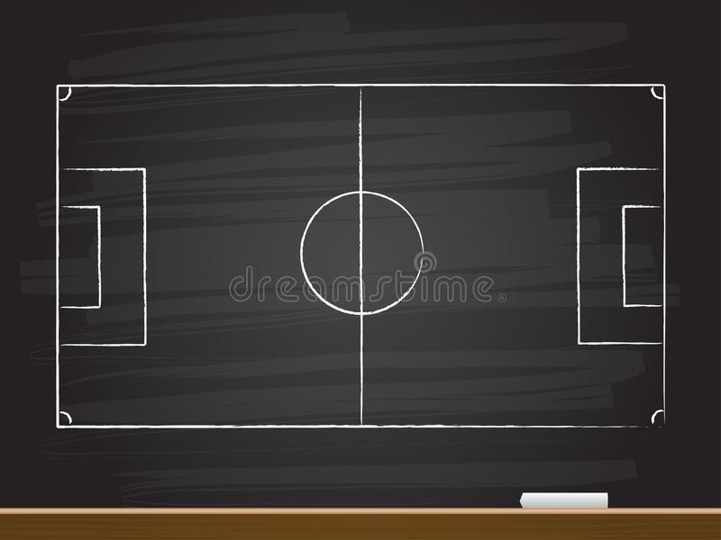 Chalk hand drawing with empty soccer game field. vector illustration