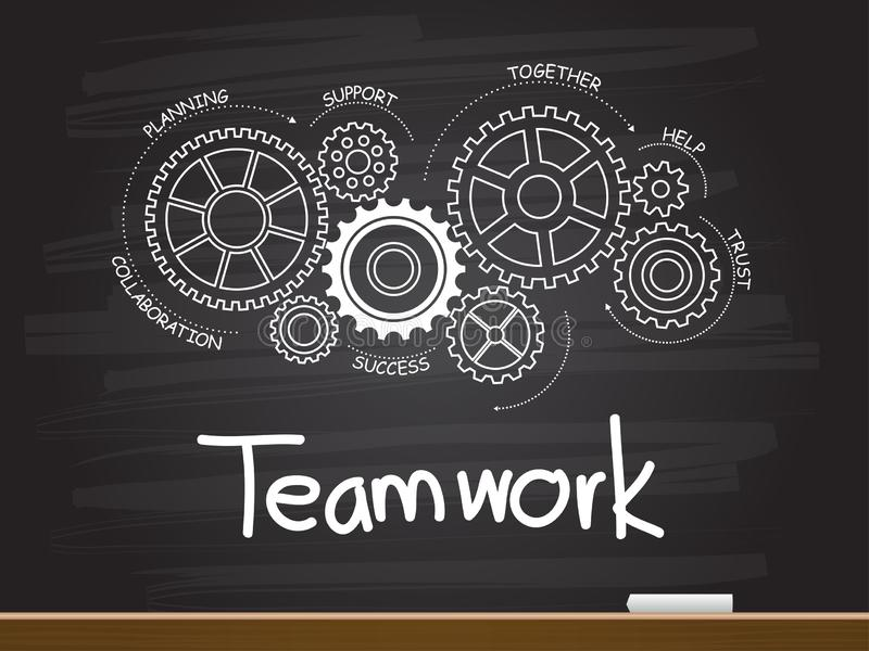 Chalk hand drawing with gear and teamwork word. Vector illustration stock illustration