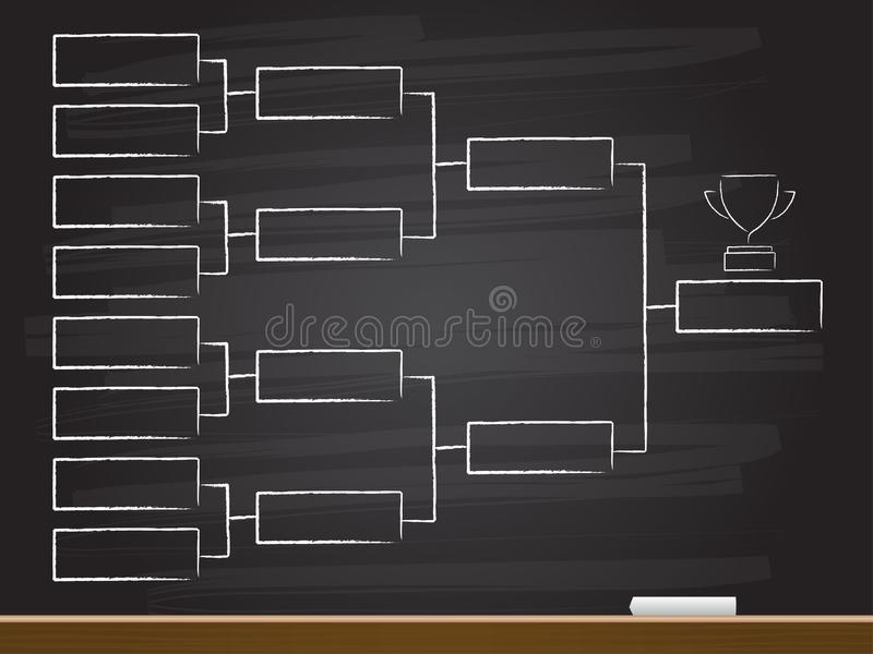 Chalk hand drawing with quarter final chart. Vector illustration stock illustration