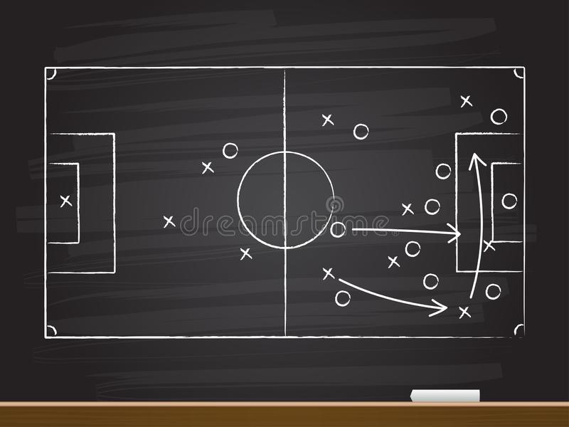 Chalkboard hand drawing with soccer game strategy. stock illustration