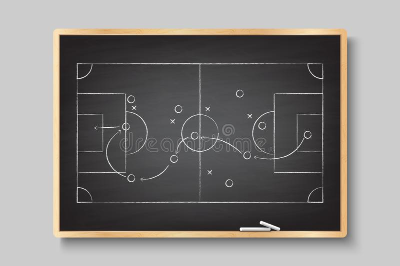 Chalk hand drawing with soccer game strategy stock illustration