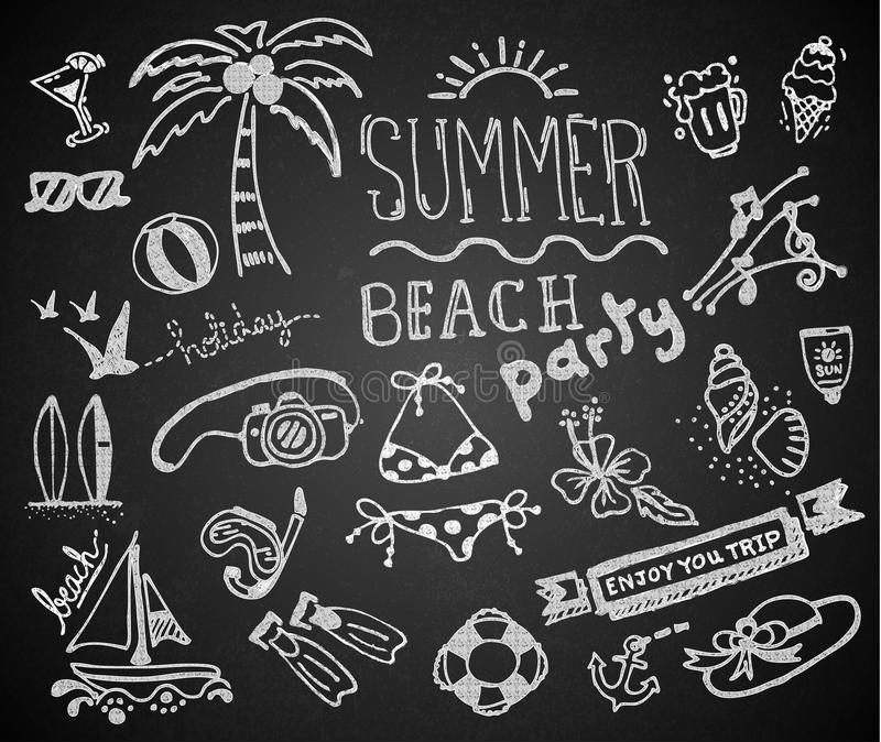 Chalk hand drawing summer on blackboard stock illustration
