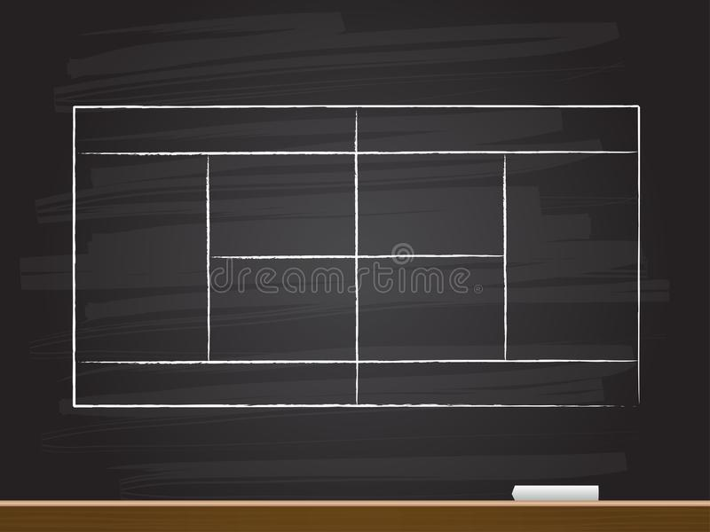 Chalk hand drawing with tennis court. Vector illustration. Abstract blackboard drawn white sketch cartoon word text background business concept icon symbol stock illustration