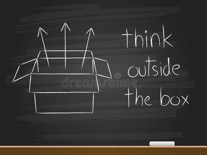 Chalk hand drawing with think outside the box. royalty free illustration