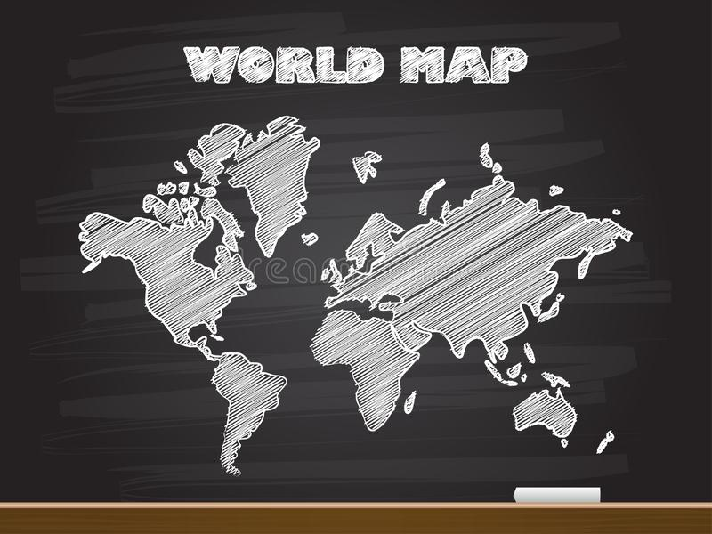 Chalk hand drawing with world map. Vector illustration stock photography