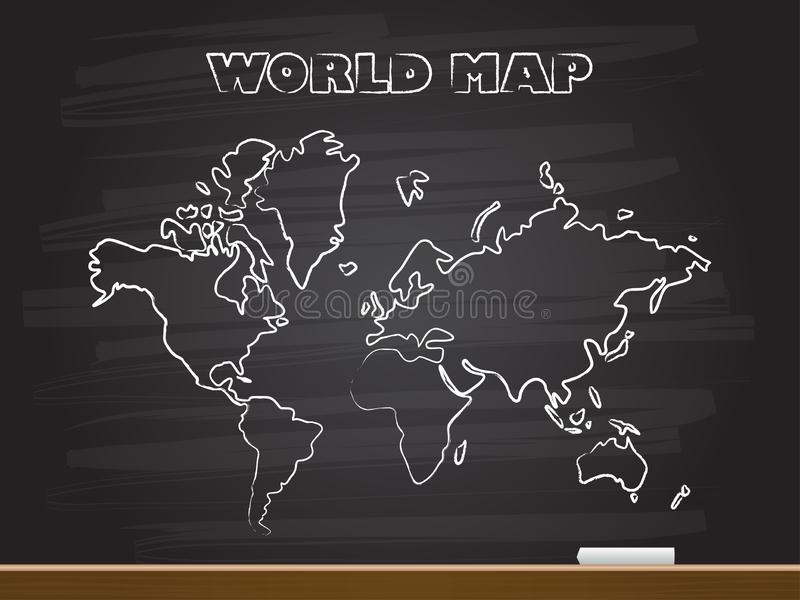 Chalk hand drawing with world map. Vector illustration vector illustration