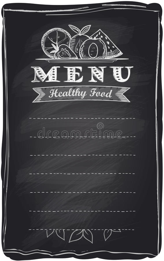 Chalk healthy food fruit menu. Chalk healthy food fruit menu, chalkboard background with place for text stock illustration