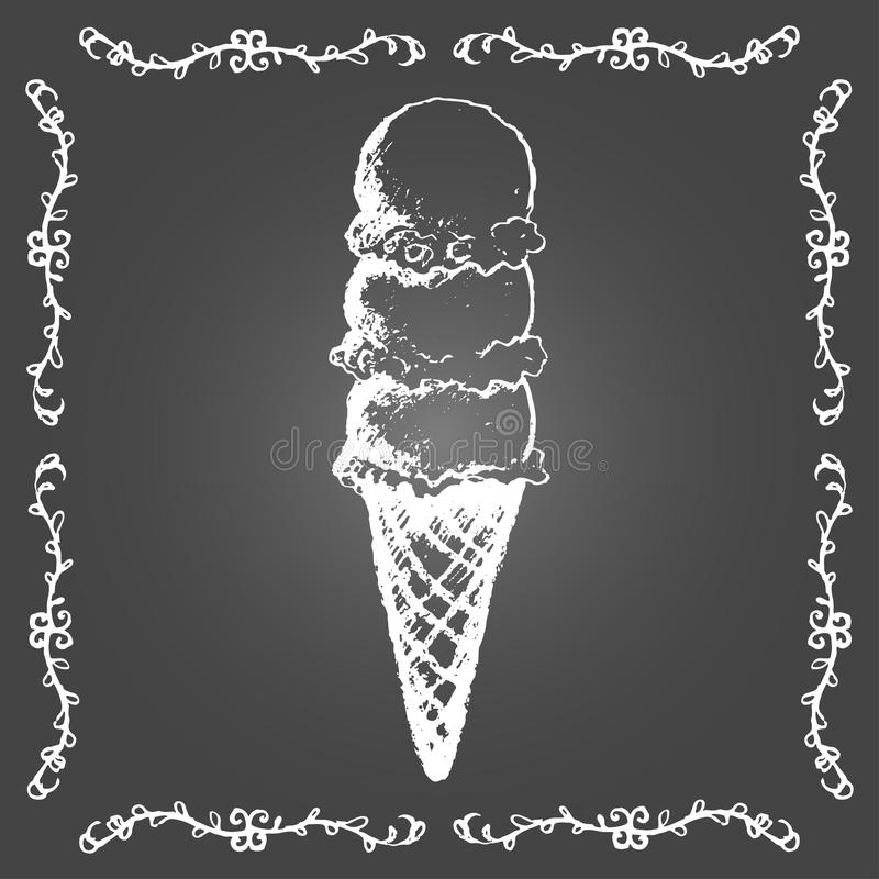 Chalk ice cream cone of three scoops in row. Chalk ice cream cone of three scoops in row and vintage frame on gray background stock illustration