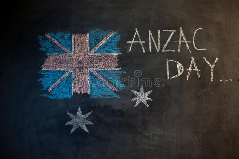 Chalk inscription on the blackboard and picture of the flag of Australia royalty free stock image