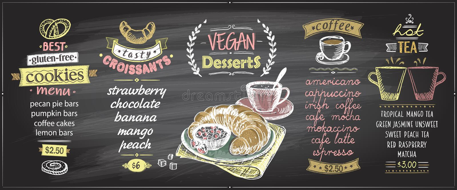 Chalk menu board designs set with sweets and hot drinks. Vegan desserts, gluten free cookies, croissants, coffee and tea vector illustration