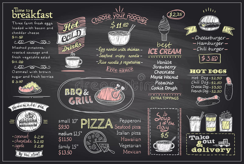 Chalk Menu List Blackboard Design For Cafe Or Restaurant Stock